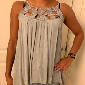 Gray spaghetti strap summer shirt